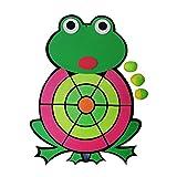 JMF - Juego de lanzamiento de bolas con diseño de rana de dibujos animados con disco de lanzamiento de diana con velcro para niños y padres