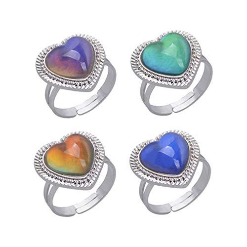 Amosfun 4 Stücke Stimmung Ring Farbe Ringe Einstellbar Herz Ring für Mädchen Valentinstag Schmuck (Zufällige Farbe)