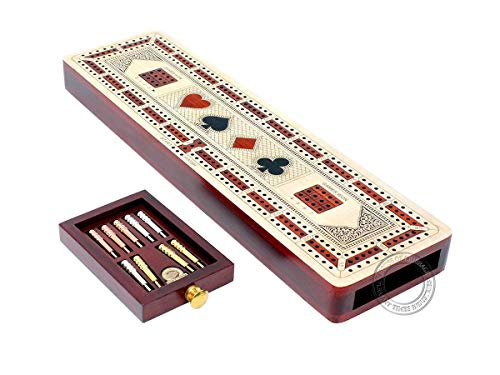 House of Cribbage - 3 Track Continuous Cribbage Board Inlaid in Maple Wood / Bloodwood - Size: 12.5 Inch - Wood Inlaid Card Symbols (Suits) + Storage Drawer for Cribbage Pegs
