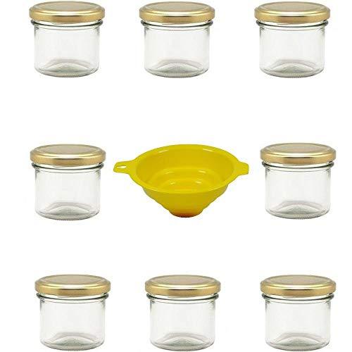 Viva Haushaltswaren G1130125/8T/X - Lote de 8 tarros de Mermelada pequeños (125 ml Embudo con sujeción Amarillo)
