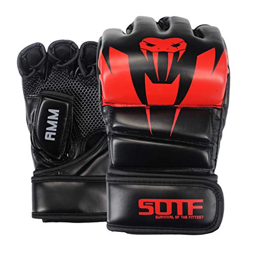 LIfav Boxhandschuhe, Erwachsene MMA Giftige Schlange Multicolor Boxhandschuhe Muay Thai Handschuhe Muay Thai Boxkampf Glove Sanda Pads Box, Anzug Für Männer Frauen,Rot