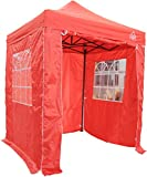 All Seasons Gazebos, Choice Of 5 Colours, 2x2m Heavy Duty, Fully Waterproof, Premium Pop Up Gazebo With 4 x Zip Up Side Panels, Carry Bag With Wheels and 4 x leg weight bags (Red)