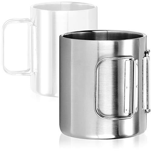 com-four® Edelstahl-Kaffeebecher - 350 ml je Kaffeetasse - Thermo-Trinkbecher aus hochwertigem Edelstahl mit Klapphenkel - doppelwandige Isolierbecher - BPA-frei (silberfarben - 350ml - 1 Stück)