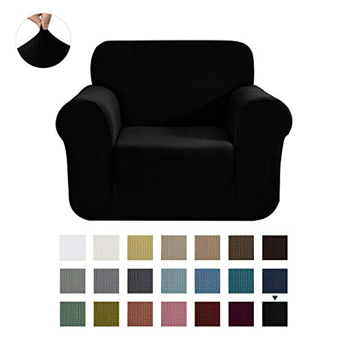 CHUN YI Stretch Chair Sofa Slipcover 1-Piece Couch Cover Furniture Protector, 1 Seater Coat Soft with Elastic Bottom, Checks Spandex Jacquard Fabric, Small, Black