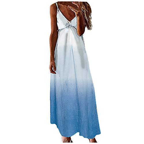 KIMODO V Ausschnitt Kleider Damen Spitzenkleid Träger Rückenfreies Farbverlauf Ärmelloses Spaghetti Sommerkleider Strandkleider Maxikleid (Blau, XL)