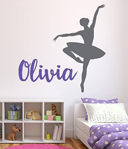 Personalized Ballet Name Wall Decal For Girls Nursery Baby Room Art Decor Vinyl Mural Sticker product image