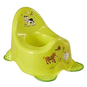 OK Kids Granja Divertida Unisex Inodoro de Entrenamiento para Baño con Pies de Agarre de Seguridad - Verd