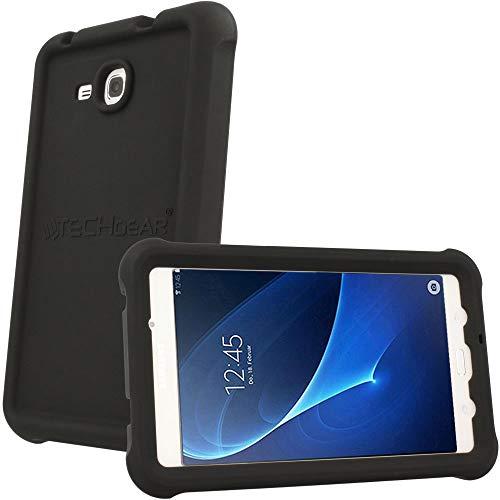 TECHGEAR Schutzhülle für Samsung Galaxy Tab A 7,0 (T280 T285), [Kinderfreundlich] Leichtes Koffer Silikon Soft Shell Anti-Rutsch-Shockproof verstärkte Ecken + Displayschutzfolie. - Schwarz