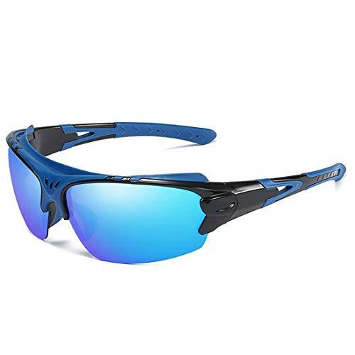 LAMZH Gafas de Sol Deportivas de Moda de Gafas de Sol polarizadas UV400 Protección de conducción Ciclismo Corriendo Pesca Golf (Color : Blue)