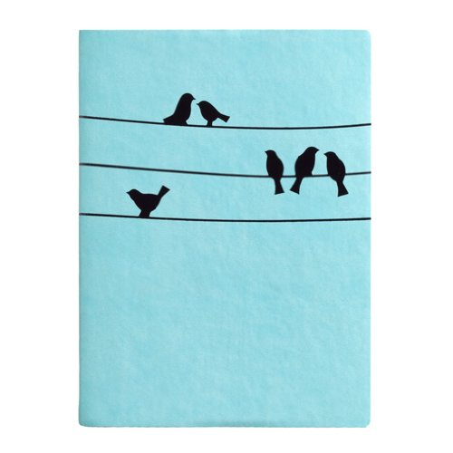 Eccolo Birds On Wire Writing Journal, 256 Lined Page Notebook, Flexible Faux Leather Cover