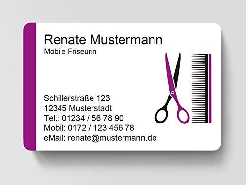 100 Visitenkarten, laminiert, 85 x 55 mm, inkl. Kartenspender - Friseurin Hair