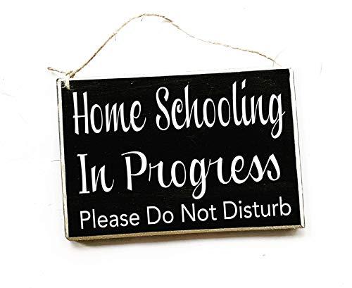 teacher sign for doors 8x6 Home Schooling in Progress Please Do Not Disturb Custom Wood Sign Teacher School Students Testing Silence Quiet Soft Voices Door Plaque