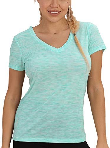 icyzone Damen Sport T-Shirt V-Ausschnitt - Laufshirt Kurzarm Top Trainingsshirt Fitness Oberteile Sportbekleidung (XL, Ice Green)