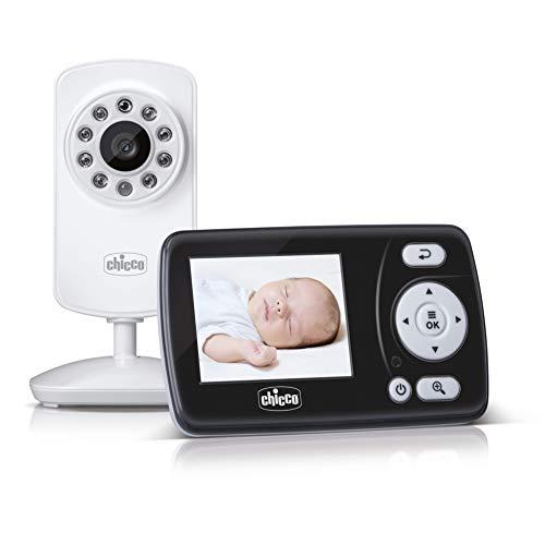 Chicco Video Baby Monitor Smart, Vigilabebés con Cámara para Ver a Bebés y Niños con Pantalla a Color LCD 2.4', Alcance de 200 m, Visión Nocturna, Activación por Voz y Batería de Larga Duración