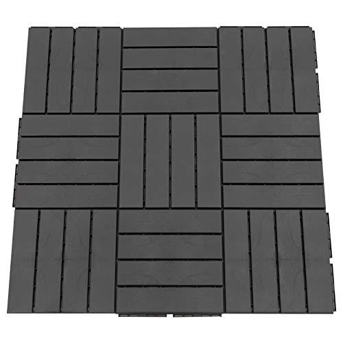 Outsunny Baldosas Cuadradas para Suelos Antideslizantes Exteriores Interiores Paquete de 9 Piezas 0.81 m² 30x30 cm Negro