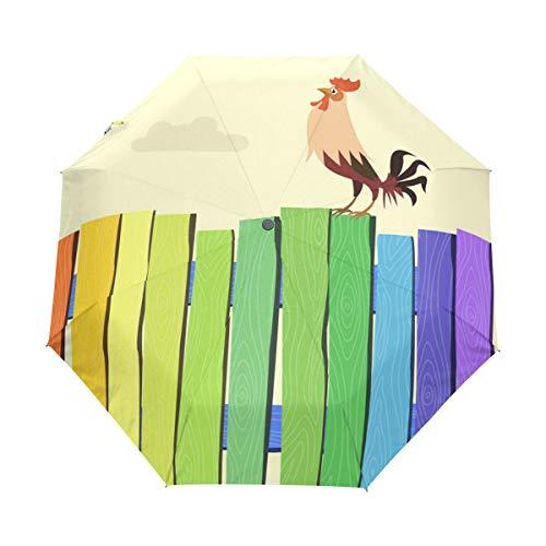 MONTOJ Regenschirm, bunt, Zaun und Hahn, 3-Fach faltbar, UV-Schutz mit automatischer Öffnung
