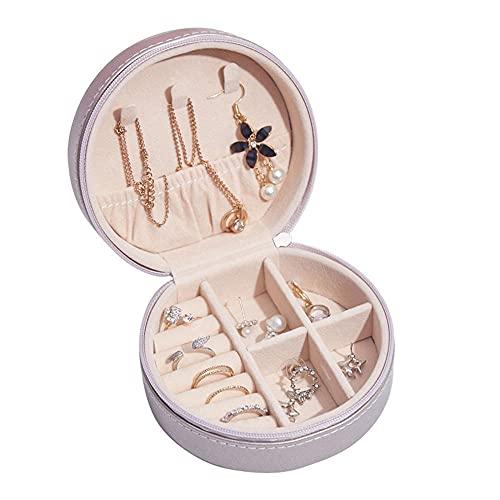 para Anillos, Aretes, Pendientes, Pulseras y Collares, Caja de almacenamiento portátil creativa de la joyería de los pendientes simples del joyero de cuero-C3