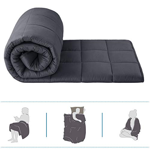 Bedsure Weighted Blanket Queen 15 pounds - Queen Weighted Blankets for Adult with Glass Beads 100% Cotton Grey Heavy Blanket (60 x 80 inch, Grey)
