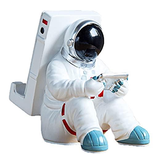 OUMIFA Estatua Estatuas Creativas Estatuas de astronautas Soporte de teléfono Material de Resina Duradera de Escritorio Multifuncional Escultura de Resina