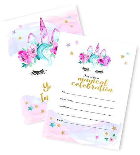 Magical Unicorn Invitations Large -12 Invitations + 12 Envelopes - Double Sided - Watercolor with Digital Gold by Tinselbox