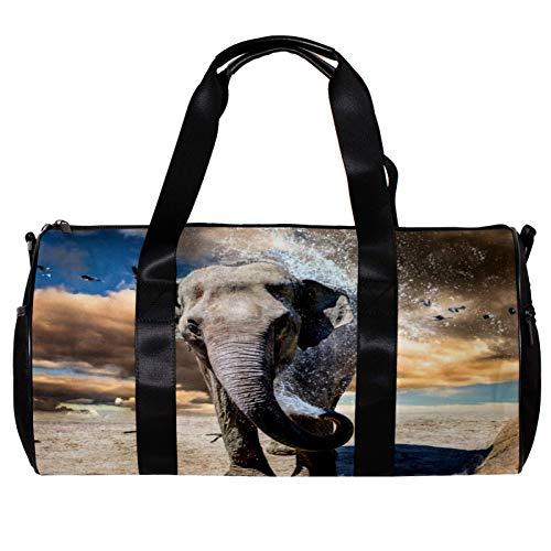 Runde Sporttasche mit abnehmbarem Schultergurt, Elefanten-Badehose, Trainingshandtasche für Damen und Herren