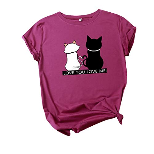 Willow S Women's Summer Cute Cats Printed Funny T Shirt Casual Short Sleeve Top Blouse Purple