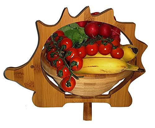 Panier Pliant Hérisson 30 X 30 cm de Meubles en Bambou Bois Bol Corbeille Fruits à Dekoschale Pliable Légume Fruits, Idéal Également comme dessous Plats pour Pots, Poêles Etc. par la Technique Pliage,