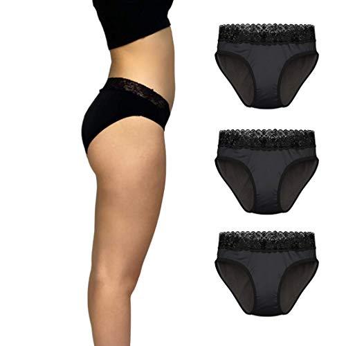 Bragas menstruales - Capeebara - OekoTex - Bragas absorbentes - Bragas - Bragas absorbentes por Menstruaciòn- Celeste el culote (XXL/44, Juego de 3)