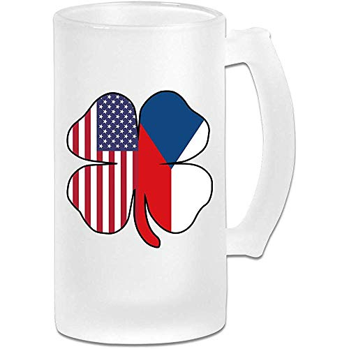 Amerikaanse Tsjechische vlag Shamrock Frosted Glass Stein Beer Mok, pub mok, drank mok, geschenk voor bier Drinker, 500Ml (16.9Oz)