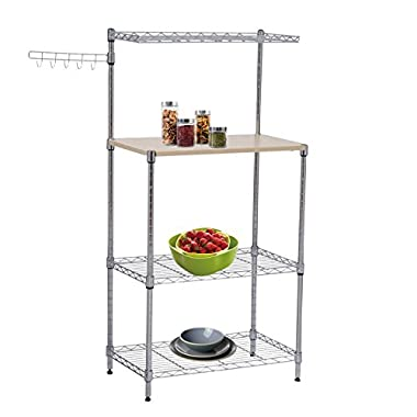 Tenive Baker's Rack Shelf Utility Stand Kitchen Cart w/ Wooden Plank and hook