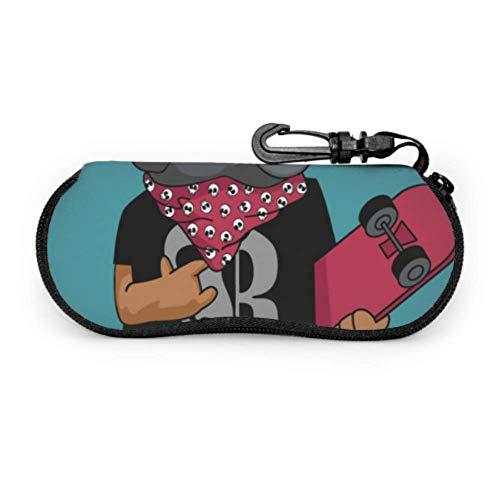 Funda para gafas de sol de neopreno con cremallera suave para gafas de sol de neopreno con soporte para perro en un monopatín dibujado a mano