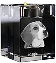 Beagle, Crystal Candlestick, Candle Holder with Dog, Souvenir, Limited Edition