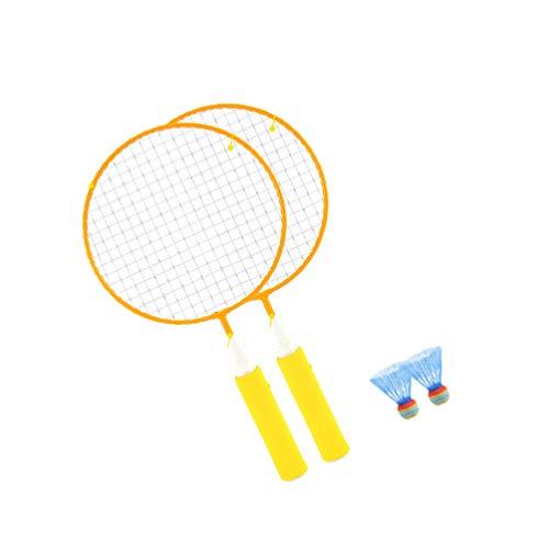 Conjunto de 2 peças de raquete de tênis infantil com raquete de badminton, brinquedos esportivos infantis com 2 bolas para crianças pequenas, festas de aniversário, presentes ao ar livre