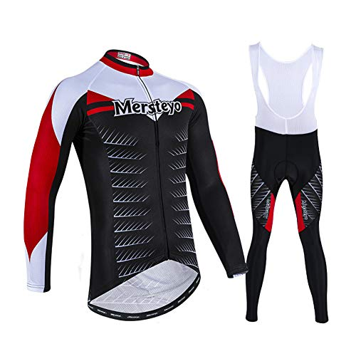 HUIGE Cycling Jersey Set Long Sleeve Breathable Suit Pants Men's Recreation Shirt Bicycle Tights Clothing Mountain Bike Trousers Outdoors with 3D Padded,Black,S