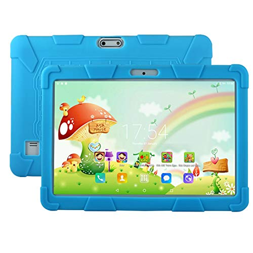 HJGHY Tableta para Niños, Tableta para Niños de 10 Pulgadas Android 5.1 1GB 16GB Tableta de Aprendizaje con Cámaras Duales WiFi Apto para Niños, Funda de Silicona,Azul