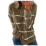 Covermason Women's Casual Striped Sweatshirts Thermal Crewneck Long Sleeve T-Shirts Loose Blus Camiseta con Redondo y Estampado de en de Manga Corta para Mujer Linda Camiseta de Estilo de Moda