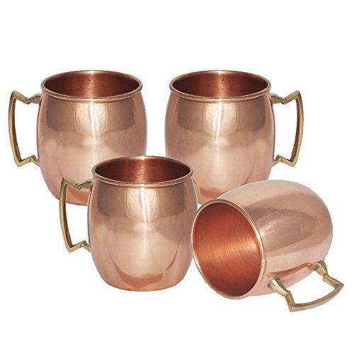 TeraShopee reg; Lot de 4 tasses en cuivre massif pour Moscow Mules Finition laquée 550 ml