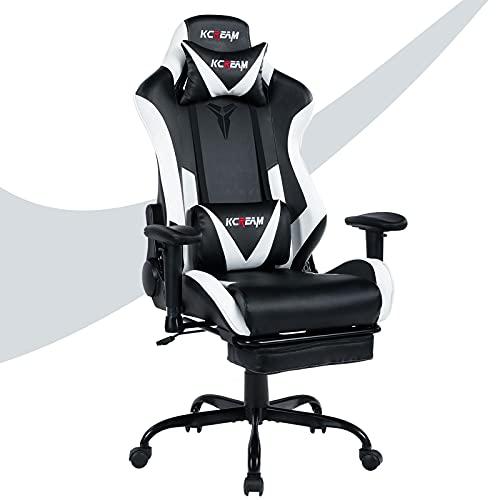 KCREAM Gaming-Stuhl Bürostuhl Größe hohe Rückenlehne ergonomischer Rennsitz mit Massage Lendenwirbelstütze und einziehbarer Fußstütze PU-Leder 3D verstellbare Armlehnen
