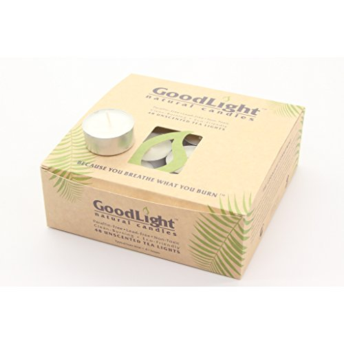 GoodLight Paraffin-Free Unscented Tea Light Candle, 48-Count