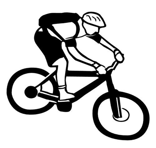 Mountainbiker Aufkleber Bike Radfahrer Aufkleber in Den Größen 20cm Oder 25cm (135/4) (25cm, Weiß Glanz)