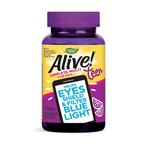 Nature's Way Alive Teen Gummy Multivitamin for Her Helps Eyes Filters Blue Light Burst Flavor, Citrus, 50 Count