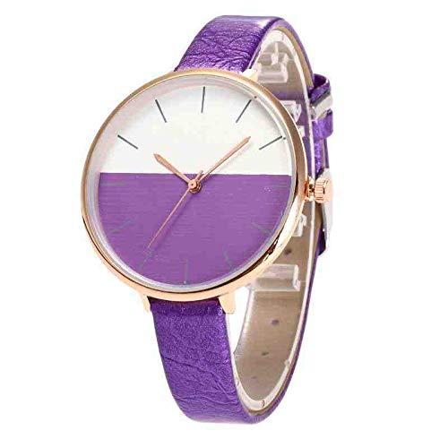 DECTN Montre Bracelet Nouvelle Mode irrégulière Mode de la Femme Ultra-Mince personnalité Bicolore Cadran Large Ceinture Fine Montre à Quartz Violet