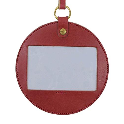 名入れ 刻印付き ヌメ革 丸型 IDケース ネームホルダー パスケース ネックストラップ レザー メッセージ 真鍮 ギフト (レッド)