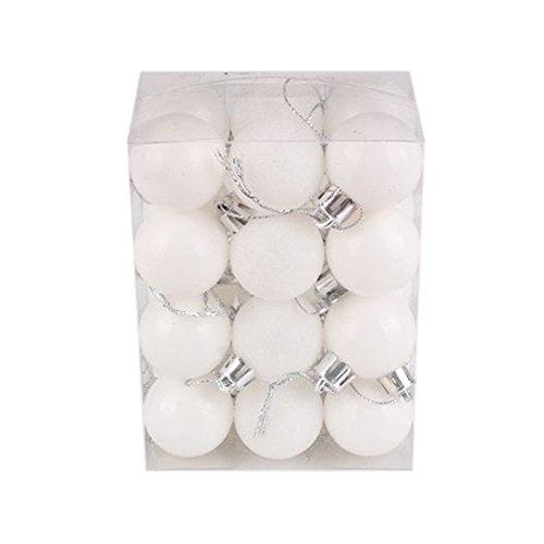 CLOOM 24 Piezas Bolas De Navidad De 3Cm Adornos Navideños para Arbol Decoración De Navidad Plástico Bolas De Adornos Brillantes Decorar Navidad Regalos De Colgantes De Navidad (Blanco)