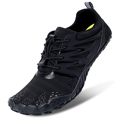 L-RUN Mens Womens Water Sports Shoes Drainage Sole Black Women 8, Men 6.5 M US
