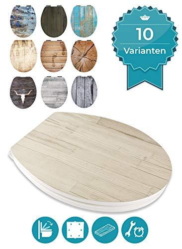 Calmwaters® WC Sitz Holz mit Absenkautomatik Motiv Wood Beige-Grau, Fast-Fix-Befestigung aus Metall, universale O-Form, stabiler Holzkern Toilettendeckel, Komfort Toilettensitz - 26LP5384