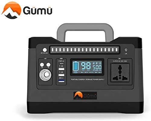 GÜMÜ G500W - Estación solar portátil de litio con generador de energía solar portátil, grupos electrógenos, inversores, alimentación 220 V, 4 puertos USB, para camping, montaña