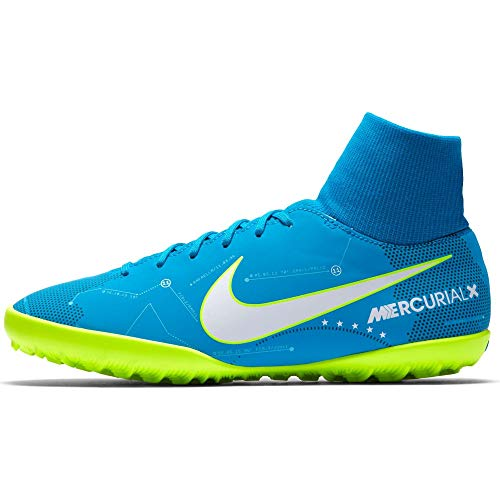 NIKE JR Mercurialx VCTRY6 DF NJR TF - Zapatillas de fútbol Sala de Neymar Jr, Unisex Infantil, Azul - (Blue Orbit/White-Blue Orbit-Armory Navy)