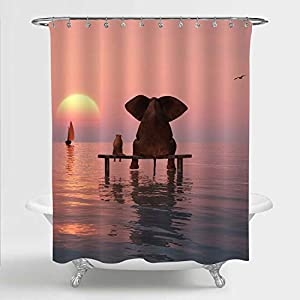 """MitoVilla Elephant Shower Curtain, Elephant and Dog Sitting in The Middle of The Sea Watching Sunset Bathroom Accessories, Elephant Gifts for Women, Men and Kids, Red, 72"""" W x 72"""" L"""
