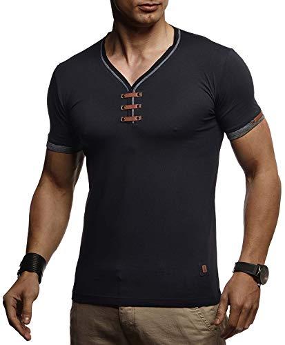 Leif Nelson Herren Sommer T-Shirt V-Ausschnitt Slim Fit Baumwolle-Anteil Basic Männer T-Shirt V-Neck Hoodie-Sweatshirt Kurzarm lang Weißes Jungen Shirt Kurzarmshirts LN4890 Schwarz Medium